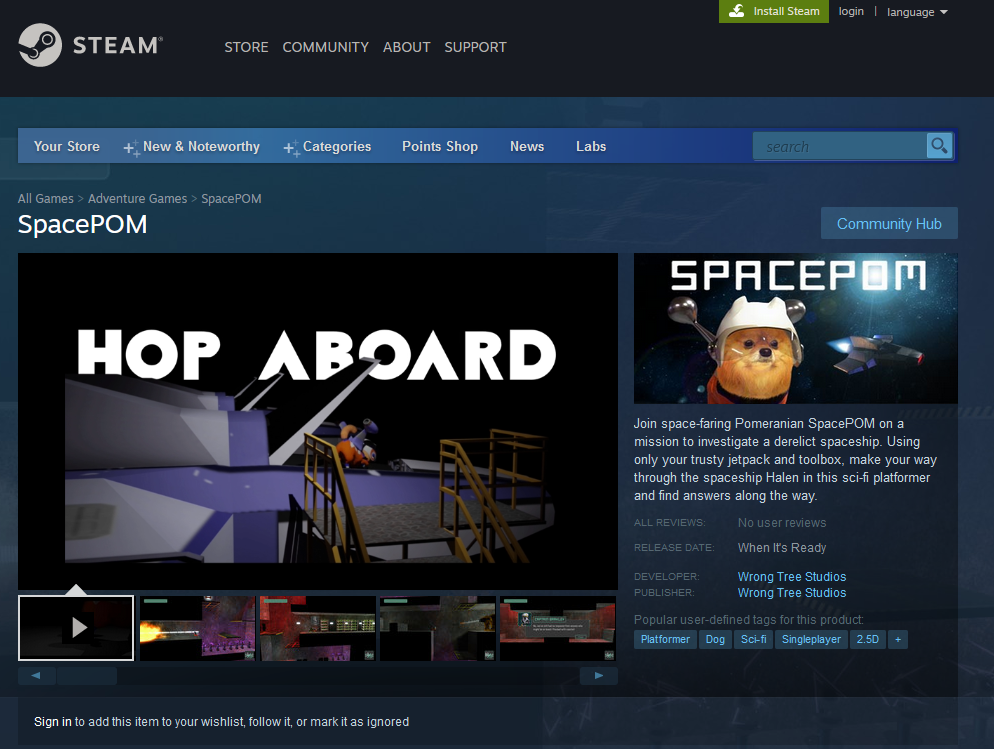 SpacePOM Video Game on STEAM. WrongTree